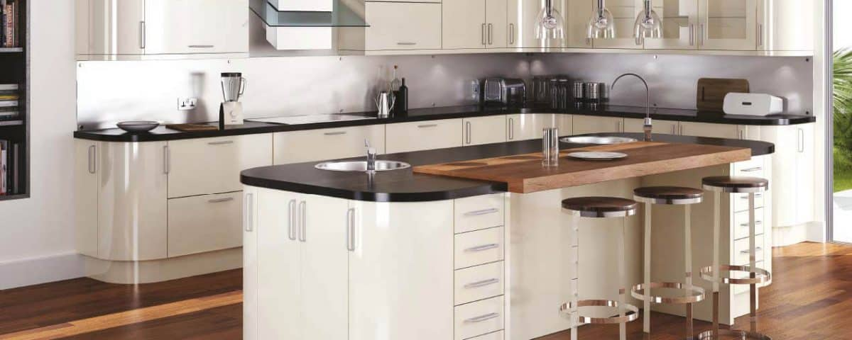 Gloss stone kitchen design