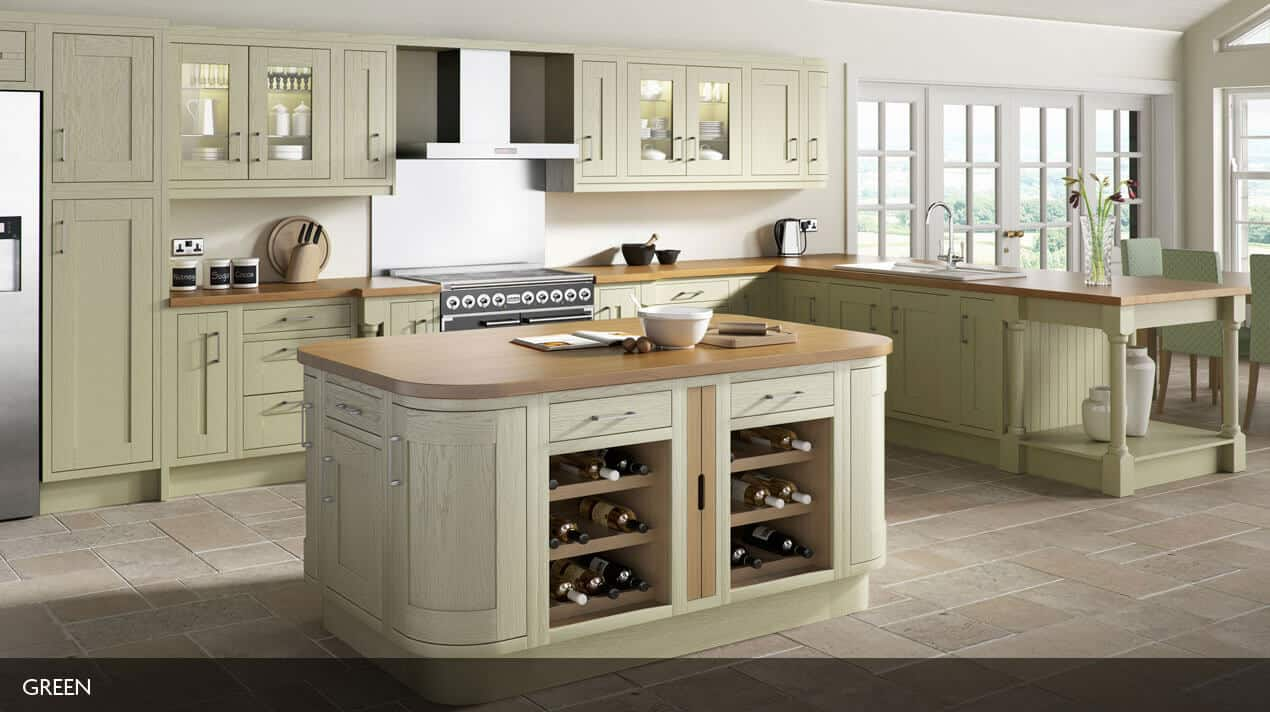 painted wood framed kitchen