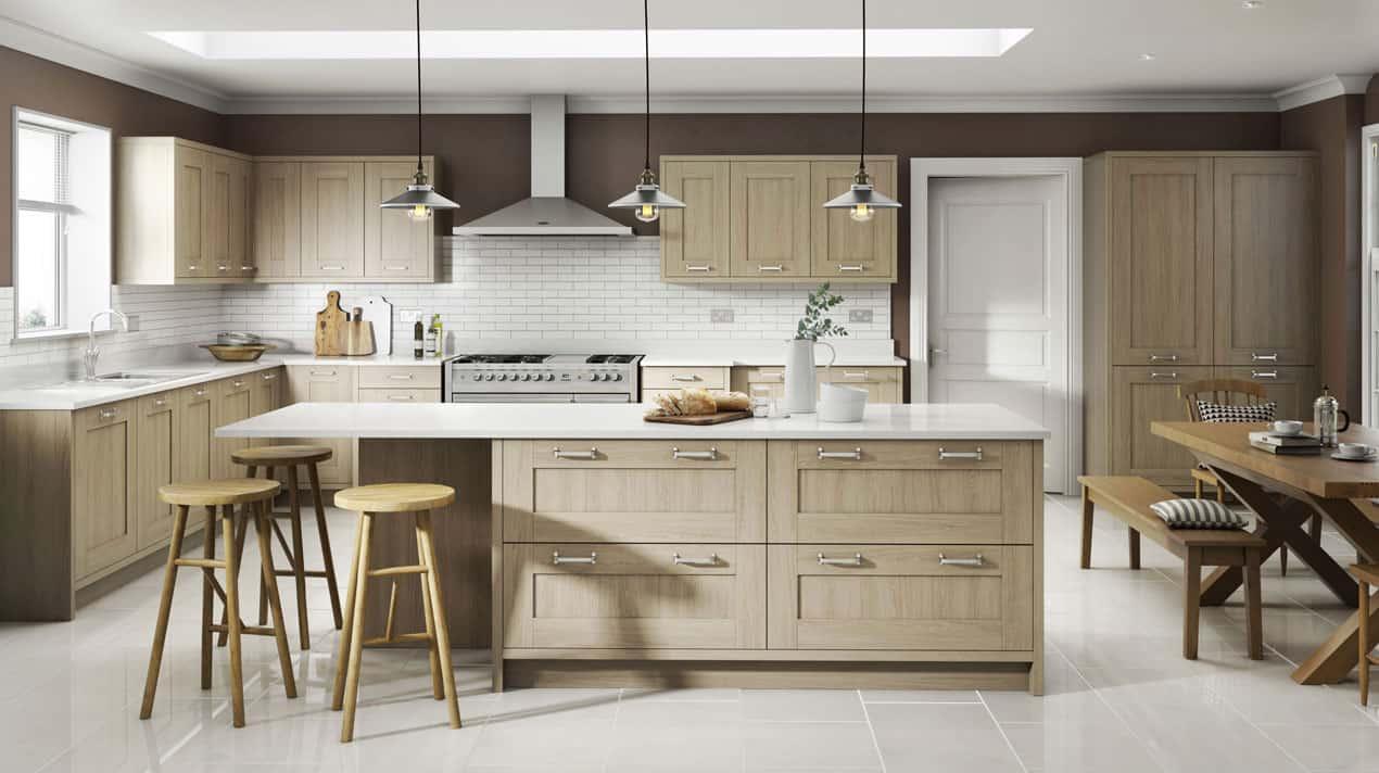 Sand Oak Shaker Kitchen Design