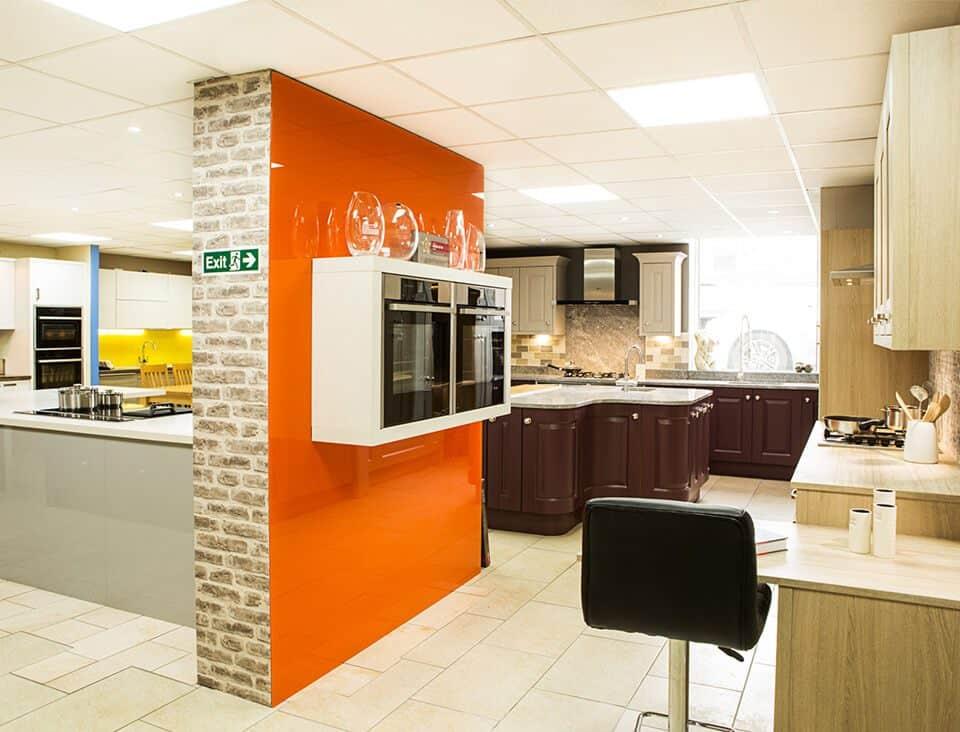 Modern kitchen design with range featured wall